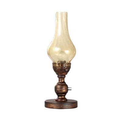 Vase Orange/Clear Water Glass Table Light Vintage 1 Bulb Bedroom Desk Lighting with Metal Base