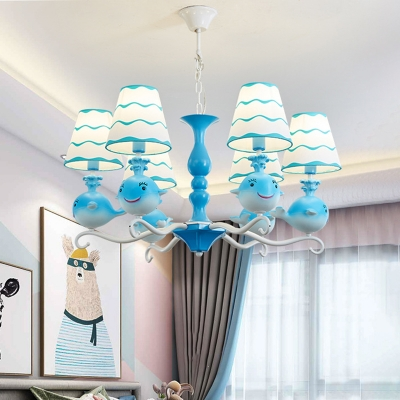 Whale Kindergarten Chandelier Metal 6 Heads Kids Hanging Pendant Light with Conic Shade in Pink/Blue