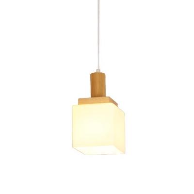 Wood Cube Hanging Pendant Modern Asia 1-Head Cream Glass Ceiling Suspension Lamp