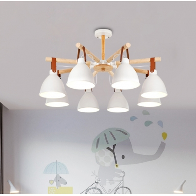 3/6/8 Heads Living Room Chandelier Macaron White/Blue and Wood Ceiling Suspension Lamp with Dome Iron Shade