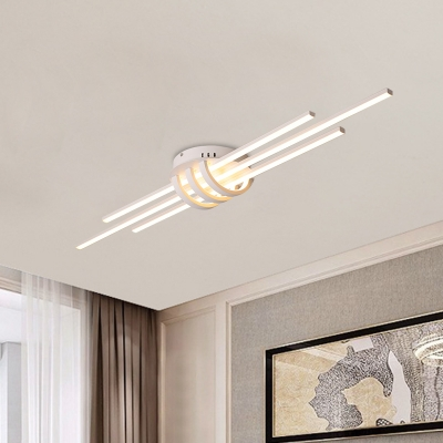 3 Slim Linear Flush Mounted Lamp Simple Acrylic Dining Room LED Flush Light Fixture in White/Black