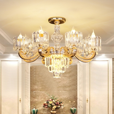 Contemporary Curvy Arm Pendant 6/8-Bulb Crystal Block Ceiling Chandelier in Gold for Living Room