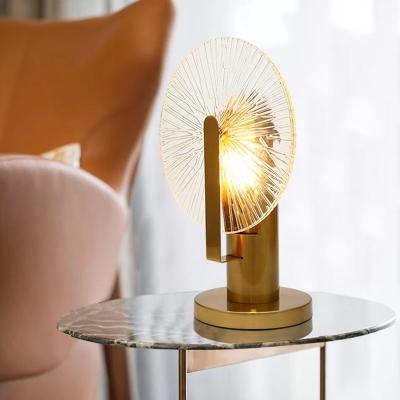 Ferris Wheel Table Lighting Mid Century Textured Glass Living Room LED Night Light in Gold