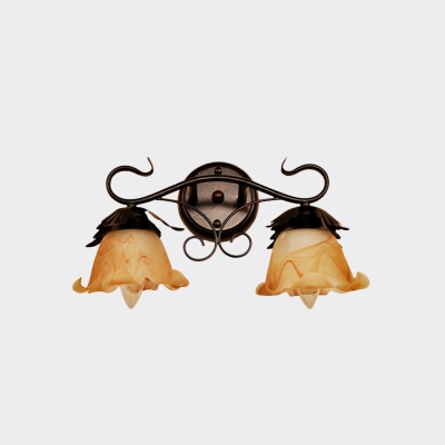 Flower Bedroom Wall Light Fixture Vintage Yellow Glass 2-Head Black Wall Lamp Sconce
