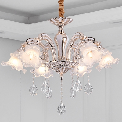 Gold Curved Arm Hanging Lighting Traditional Crystal 3/6-Light Dining Room Chandelier with Flower Frosted Glass Shade