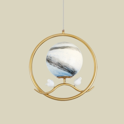 Gold Ring Pendant Light Post Modern 1 Light Metallic Hanging Ceiling Lamp with Planet Glass Shade and Bird Deco