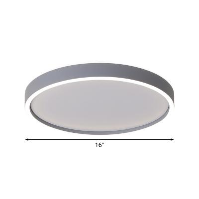 Grey Circular LED Flushmount Lighting Contemporary Acrylic Flush Mount Ceiling Fixture in Warm/White Light, 16