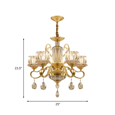 Lotus Clear Crystal Glass Chandelier Lighting Traditional 3/5-Bulb Living Room Suspension Lamp in Brass