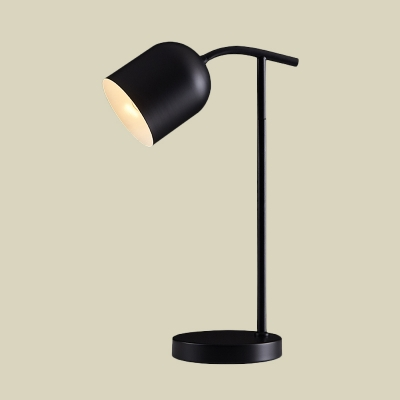 Macaron Bell Shade Table Lighting Metallic LED Bedside Reading Lamp in White/Black/Yellow with Round Base