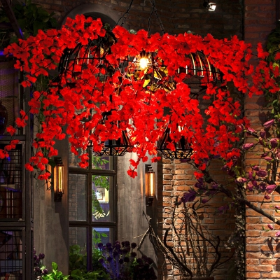 Red 3 Heads Island Pendant Industrial Metal Bird and Diamond Cage Hanging Light with Flower Decoration, HL614522