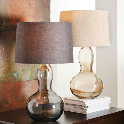Smoke Glass Gourd Night Lamp Countryside 1 Bulb Bedside Table Light with Shade in Brown