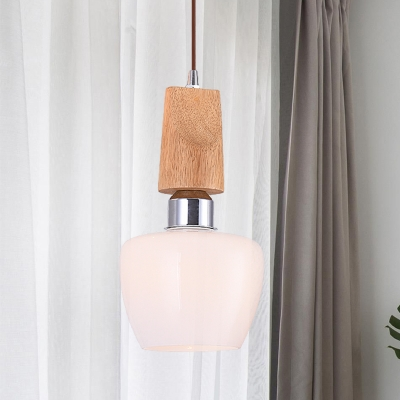 Tulip White Frosted Glass Pendant Lighting Vintage 1-Light Chrome Ceiling Hang Fixture with Wood Top