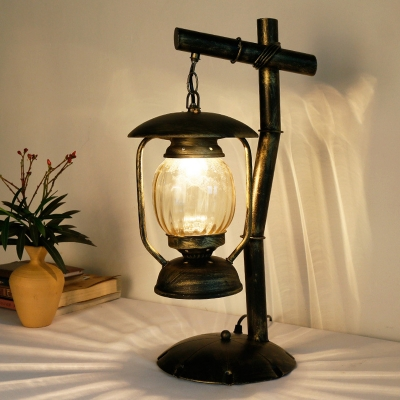 Warehouse Kerosene Desk Lamp 1-Bulb Clear Ribbed Glass Table Lighting in Brass with Metal Scalloped Base
