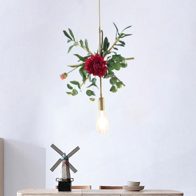 Beautifulhalo coupon: 1 Bulb Fake Rose Pendant Ceiling Light Rural Gold Iron Hanging Lamp with Triangle/Square/Linear Frame