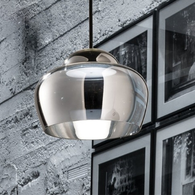 1 Head Restaurant Hanging Light Minimalism Black Ceiling Lamp with Altar Smoke Gray Mirror Glass Shade