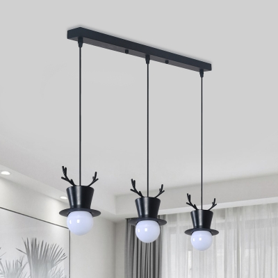 Antler and Hat Multi Ceiling Light Macaron Metal 3 Lights Black Hanging Lamp Kit with Linear/Round Canopy