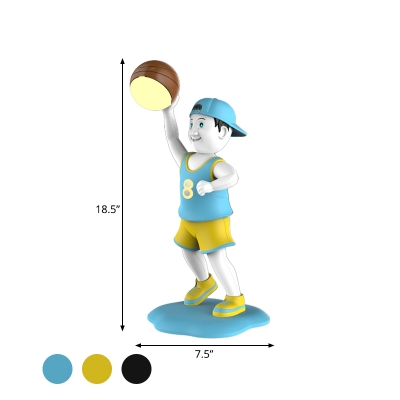 Basketball Players Night Table Light Cartoon Plastic LED Bedside Reading Book Lamp in Black/Yellow/Blue