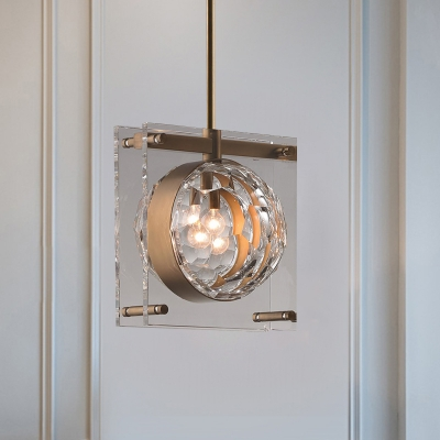 Brass 1 Head Ceiling Light Modernist Faceted Crystal Globe Hanging Pendant Lamp with Dual Squared Panel