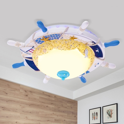 Domed Frosted Glass Flushmount Lighting Kids LED White Ceiling Mounted Fixture with Rudder Design