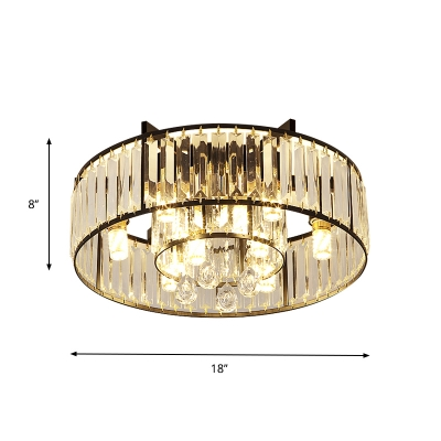 Modern Dual Circle Flush Mount Fixture 7-Bulb Crystal Block Flushmount Light in Black