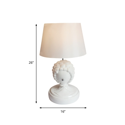 Resin White Night Stand Light Curly Hair Statue 1-Light Vintage Table Lamp with Shade