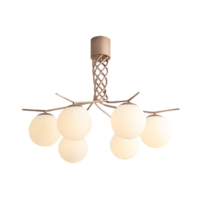 Rose Gold Spiral Ceiling Chandelier Contemporary 6-Head Iron Pendant Light Fixture with Globe Opal Glass Shade