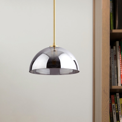 Semicircle Ceiling Pendant Light Simple Tan/Smoke Gray Mirror Glass 1-Bulb Gold Suspension Lamp