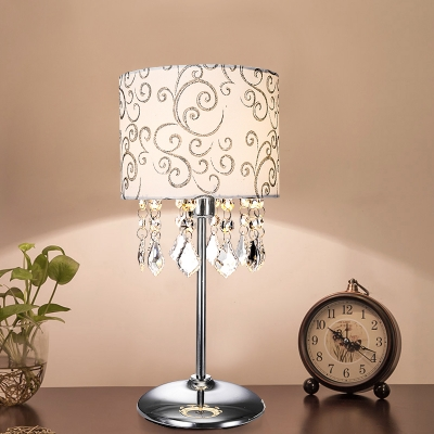 Single Barrel Shade Table Lamp Vintage Nickel Scroll Pattern Fabric Nightstand Lighting with K9 Crystal Draping