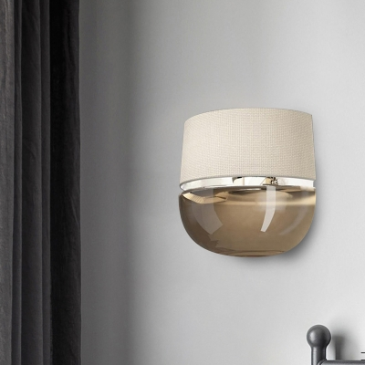 Single Wall Mount Lighting Crisscross Woven Fabric Modern Bedroom Sconce Lamp with Half Shade and Tan Glass Bottom