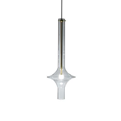 Wavy Tube Living Room Hanging Light Kit Clear Glass 1 Head Minimalism LED Ceiling Pendant Lamp