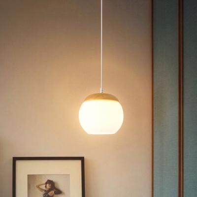 White Glass Ball Hanging Lighting Modern 1 Light Wood Ceiling Suspension Lamp for Bedside