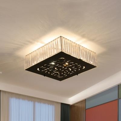 4 Bulbs Crystal Block Flushmount Light Minimalist Black Square/Rectangle Bedroom Flush Mounted Lamp