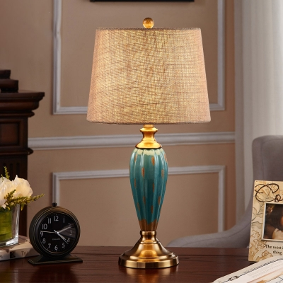Ceramic Red/Blue Table Lamp Waterdrop Shape 1 Bulb Parlor Night Light with Tapered Fabric Lamp Shade
