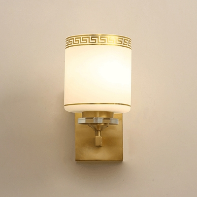 Cylinder Bedside Wall Lamp Traditional Milk Glass 1 Head Brass Sconce Lighting with Ornate Oriental Trim