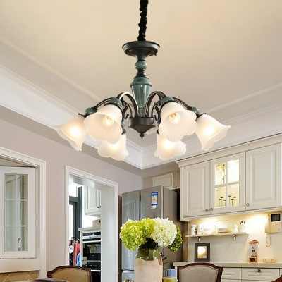 Flower Dining Room Chandelier Farmhouse White Frosted Glass 5 6 Lights Black Ceiling Pendant Lamp Beautifulhalo Com