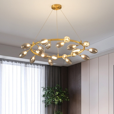Gold Garland Ceiling Chandelier Post Modern 20 Bulbs Metal LED Pendant Light Fixture with Egg Clear Glass Shade