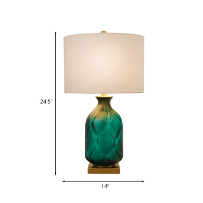 Green Hammered Glass Pot Night Lamp Vintage Single Sitting Room Table Lighting with White Round Shade