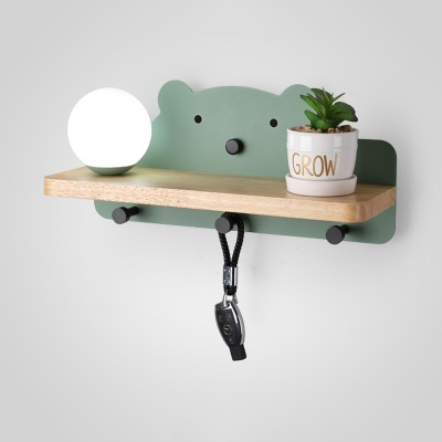 Iron Bear Wall Light Sconce Macaron 1 Bulb Green/White/Grey Wall Lamp with Wood Storage Board