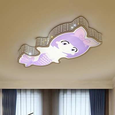 Mermaid Acrylic Ceiling Mounted Light Cartoon White and Purple LED Flushmount Lamp
