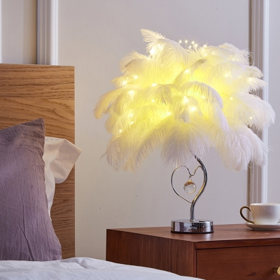 Modern Nordic Feather Night Table Light Fur LED Bedside Nightstand Lamp in White/Pink with Crystal Droplet