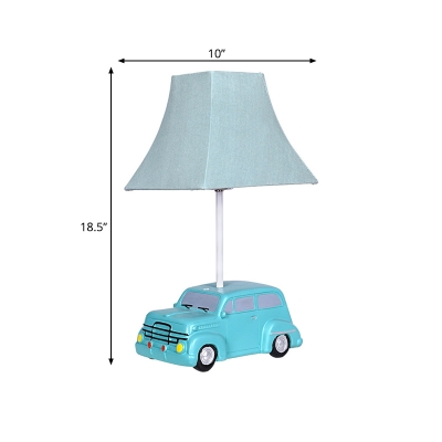 Resin Car-Like Night Table Lighting Cartoon LED Green Night Lamp with Empire Fabric Shade