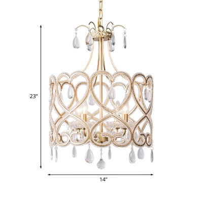 Silver 4 Bulbs Chandelier Light Fixture Country Style Crystal Drip Waterdrop Ceiling Pendant Lamp