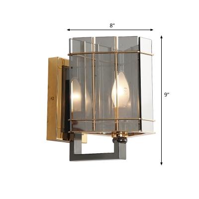 Small Triangle Wall Sconce Postmodern Smoke Prismatic Glass 1 Light Bedroom Wall Mounted Light