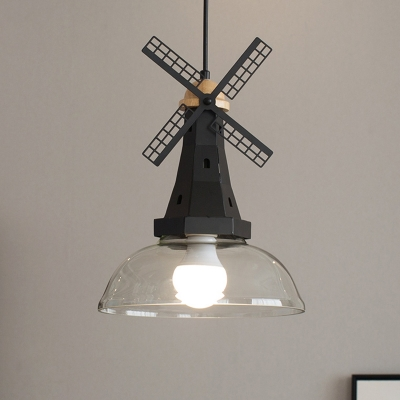 White/Black Finish Windmill Pendant Lighting Designer 1 Head Iron Ceiling Hang Fixture with Bowl Clear Glass Shade