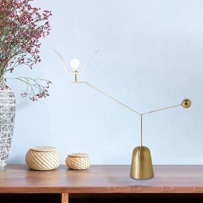 Angled Linear Living Room Desk Light Metallic LED Modernism Nightstand Lamp in Gold