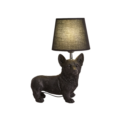 Black Dog Table Lamp Country Resin Single Bedside Nightstand Light with Tapered Fabric Lampshade