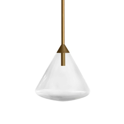 Conical Clear Water Glass Pendant Vintage Style 1 Head Bedside Ceiling Suspension Lamp in Brass