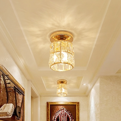 Crystal Gold Flush Mount Light Cylinder/Globe LED Modern Flush Ceiling Lamp Fixture for Hall
