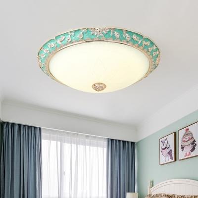 Dome Bedroom Flush Mount Light Romantic Pastoral White Glass 12