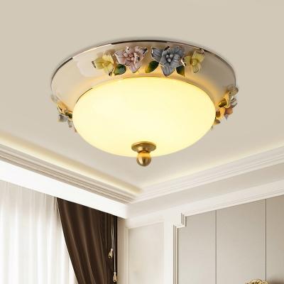 LED Opal Glass Flush Mount Lighting Pastoral Style Yellow/Blue Bowl Shade Ceiling Light with Ceramic Fruit/Flower Design, 12